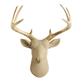 Khaki + Gold Antler Faux Head Bust Mini Deer by Wall Charmers |