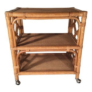 Vintage Chinese Chippendale Rattan Bar Cart