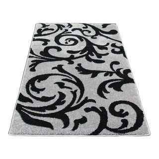Gray Vine Pattern Rug - 5′1″ × 7′9″