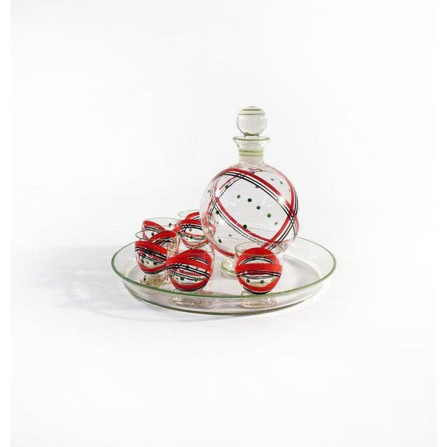 Czech Glass Decanter Set - Set of 7 - Image 2 of 6