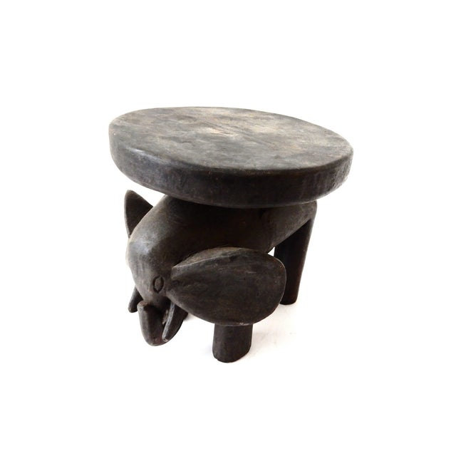 Image of Carved Elephant Milk Stool