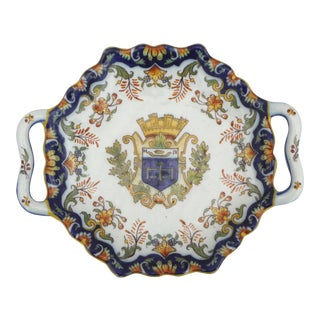 French Faience Handled Platter Desvres