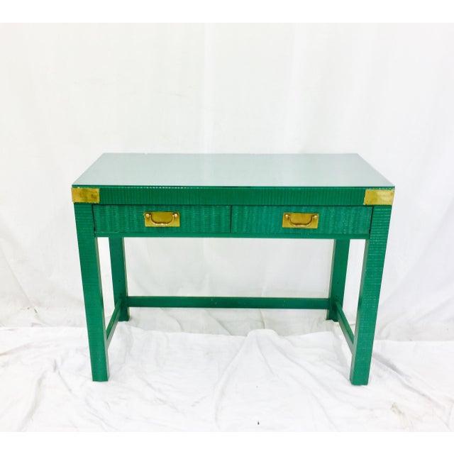 Vintage Mid-Century Campaign Green Desk - Image 5 of 11