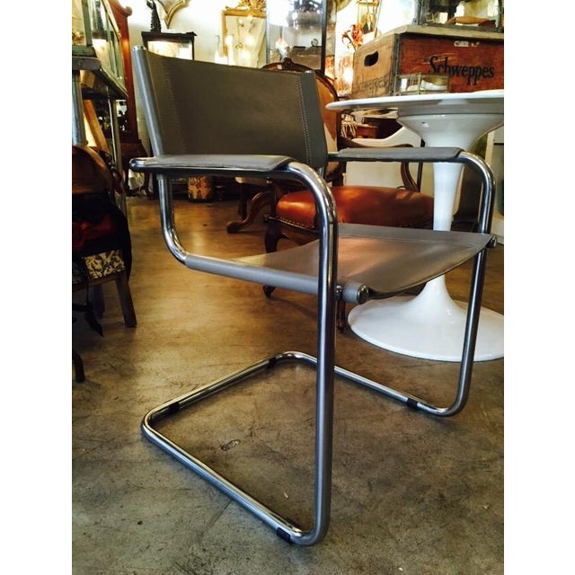 Italian Smoky Grey Leather Sling Chrome Chair - Image 2 of 10