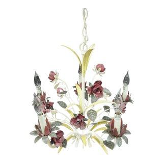 Tole Metal Floral Chandelier