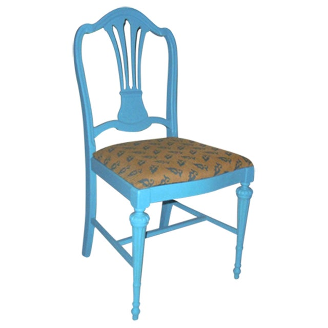 Image of Blue Mid-Century Accent Chair