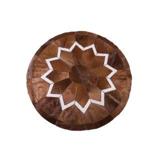 "Modern Handmade Cowhide Patchwork Rug - 6'7"" x 6'7"""