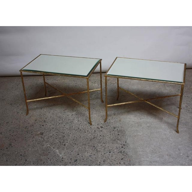 Pair of Italian Gilded X-Base Side Tables with Mirror Tops - Image 10 of 10