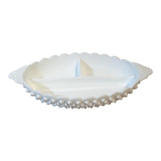 Fenton Milk Glass Divided Relish Dish