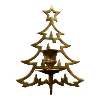 Vintage Brass Christmas Tree Candle Holder