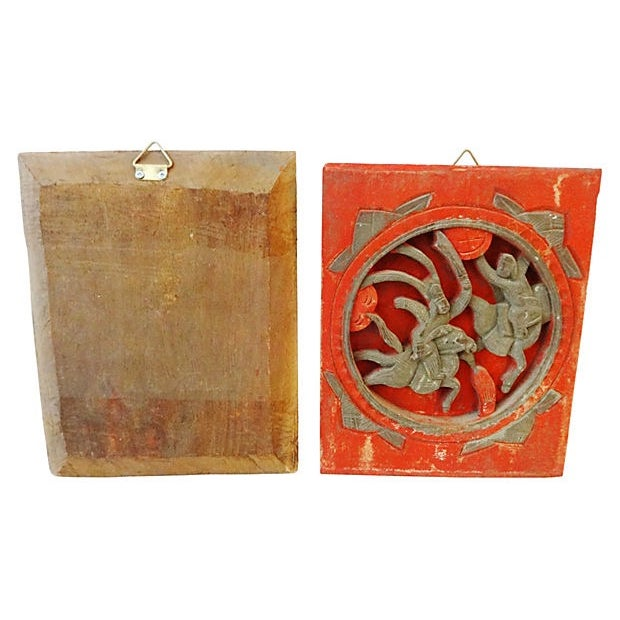 Antique Carved Wood Wall Hangings - A Pair - Image 6 of 6