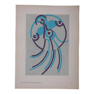 Vintage Serge Gladky Limited Edition Pochoir Print of Abstracted Bird, Circa 1928