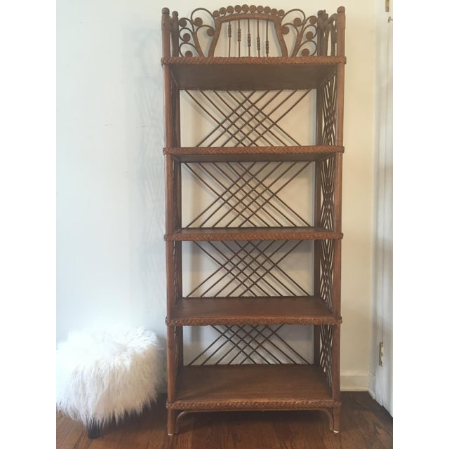 antique victorian wicker etagere chairish. Black Bedroom Furniture Sets. Home Design Ideas