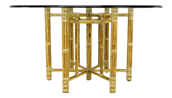 McGuire Hexagonal Reeded Bamboo Glass Top Dining Table