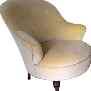 Pale Green Velvet Barrel Chair