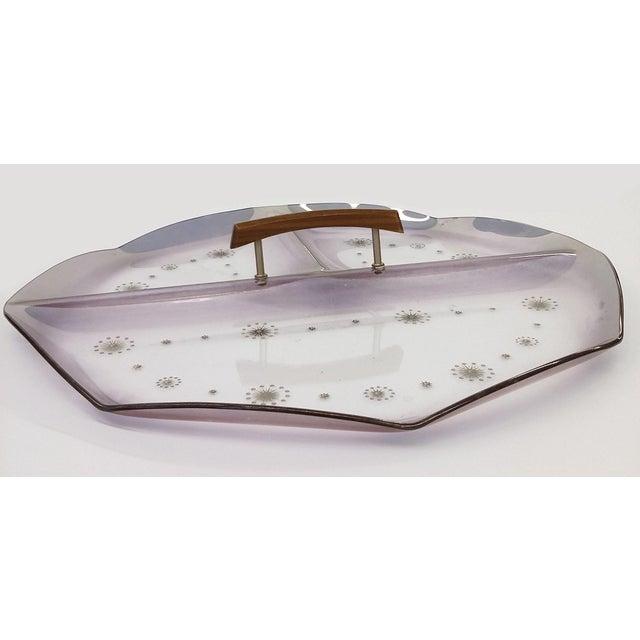 Image of Mid-Century Atomic Three-Section Purple Tray
