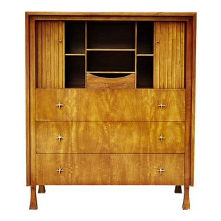 John Widdicomb Mahogany Hollywood Regency Gentlemen's High Boy Dresser With Tambour Doors