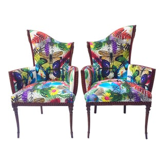Arte Moderne Butterfly Motif Chairs - A Pair