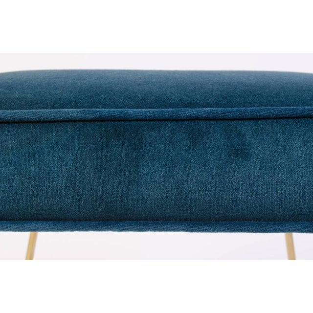 Petite Brass Hairpin Ottomans in Teal Velvet by Montage - Image 8 of 8