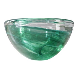 Anna Ehrner Kosta Boda Atoll Green Glass Swirl Candle Holder