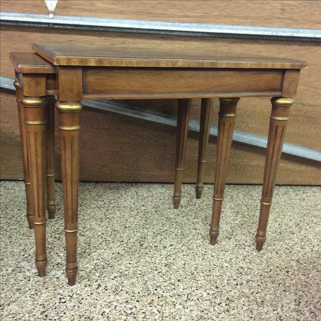 Image of Walnut Finish Heritage Double Side Table