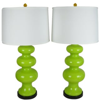 Mid-Century Chartreuse Ceramic Lamps - A Pair