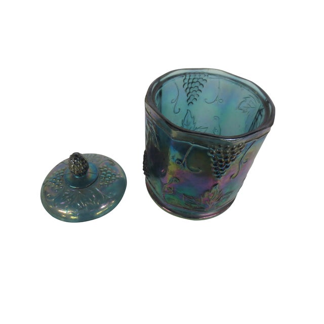 Image of Blue Carnival Glass Covered Jar