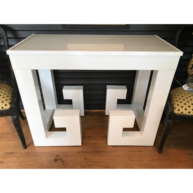 Vintage White Lacquered Greek Key Console - Image 2 of 5