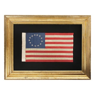 13 HAND-EMBROIDERED STARS AND EXPERTLY HAND-SEWN STRIPES, ON A FLAG MADE BY RACHEL ALBRIGHT, GRANDDAUGHTER OF BETSY ROSS, IN PHILADELPHIA IN 1903
