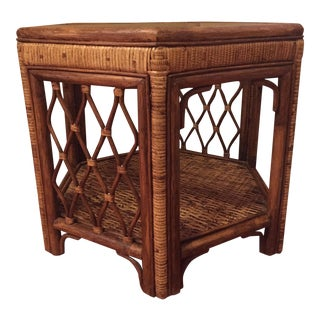 Boho Woven Rattan Side Table