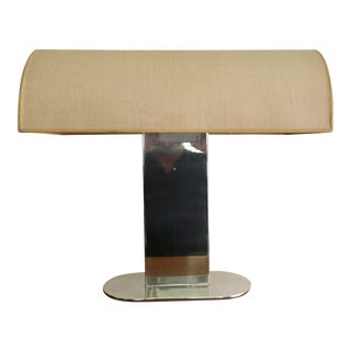 Rare Polished Aluminum Lamp with Linen Shade by Paul Mayen for Habitat Inc.