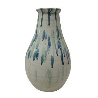 Vintage Modern Tall Blue Art Pottery Vase