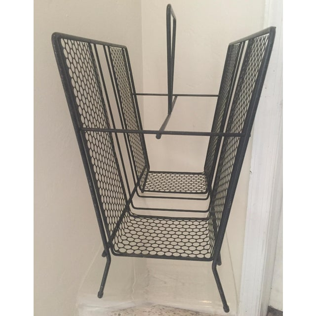 Vintage Atomic Wire Mesh Magazine Rack - Image 3 of 5