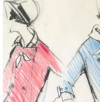 Image of Original Balmain Dress Suit Fashion Sketch 1960