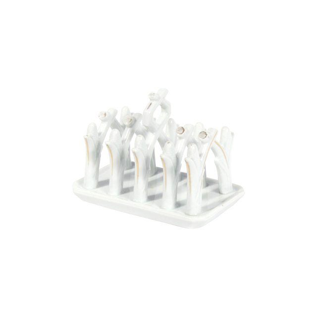Image of Glazed Gold Accented Porcelain Toast Rack