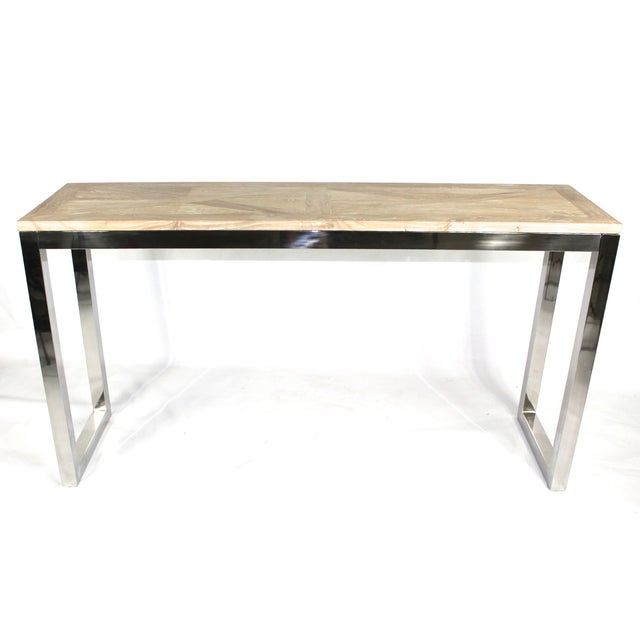 Modern Chrome and Wood Midcentury Inspired Console - Image 2 of 4
