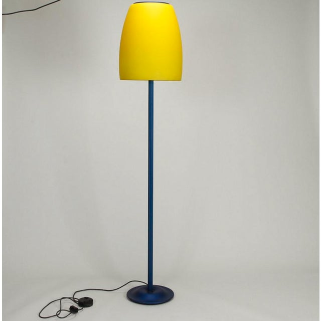 Blue and Yellow Memphis Floor Lamp with Glass Shade - Image 2 of 7