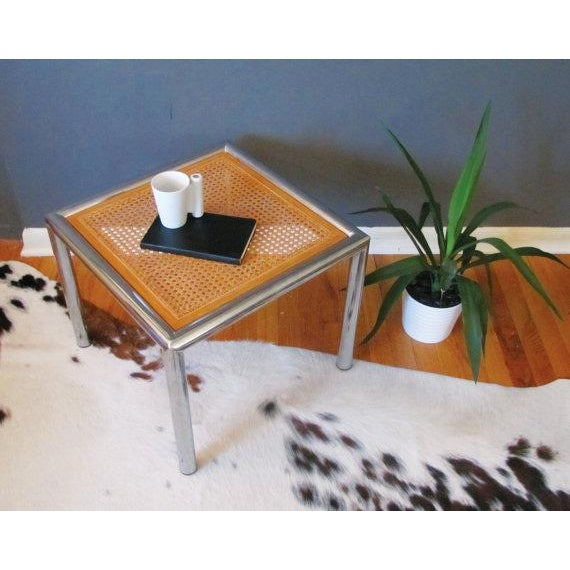Cane And Chrome Side Table - Image 3 of 3