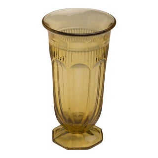 Amber Coloured Moulded Glass Vase, England c.1950