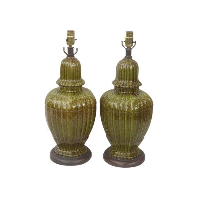 Hollywood Regency Ginger Jar Green Lamps - Pair - Image 1 of 8