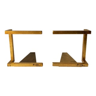 Curtis Jere Gold Leaf Bookends - A Pair