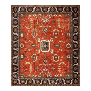 "Ziegler, Hand Knotted Transitional Orange Wool Area Rug - 10' 3"" X 11' 10"""