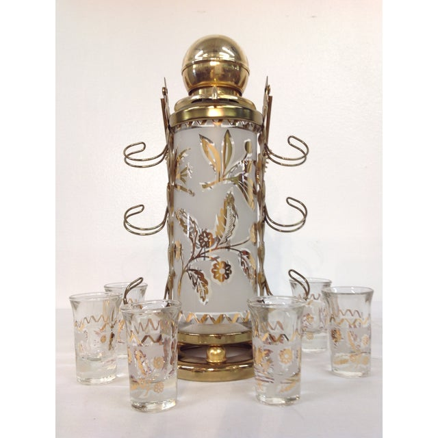 Image of Mid-Century Whiskey Decanter Shot Glasses S/6