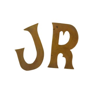 Solid Brass J & R Letters - A Pair