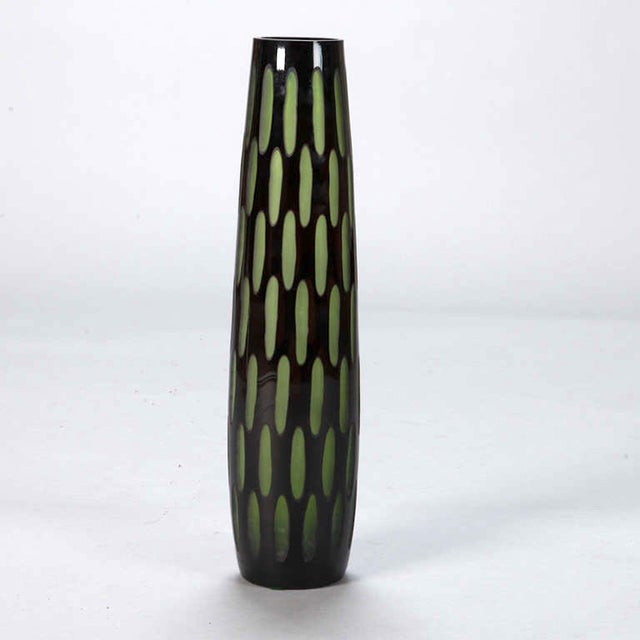 Mid-Century Slender Black & Green Case Glass Vase - Image 3 of 5