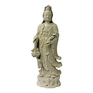 Quality Chinese White Porcelain Kwan Yin Holding a Ru Yi & Basket Figure Statue