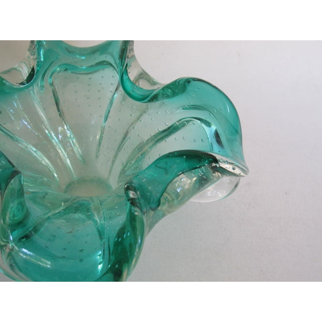 Teal Organic Form Glass Bowl - Image 6 of 8