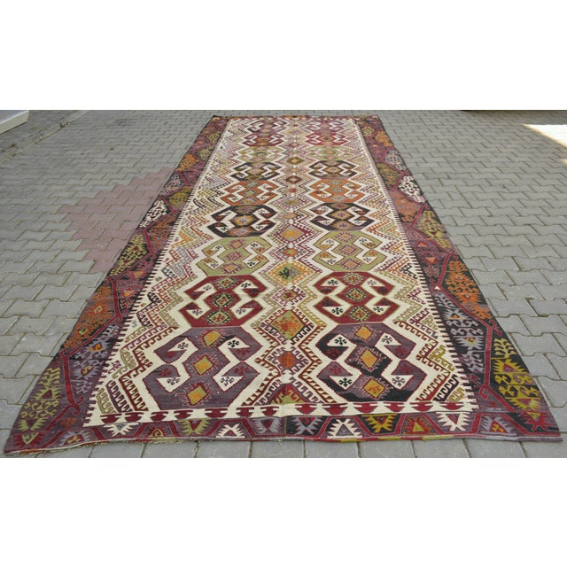"Hand-Woven Turkish Kilim Rug - 7'2"" x 16'3"" - Image 6 of 11"