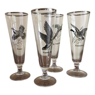 Bird Motif Beer Glasses - Set of 4