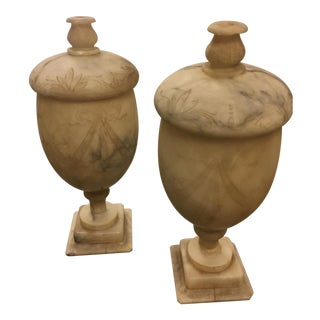 Carved Alabaster Urn Lamps - A Pair